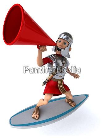spass 3d cartoon roemischen soldat surfen
