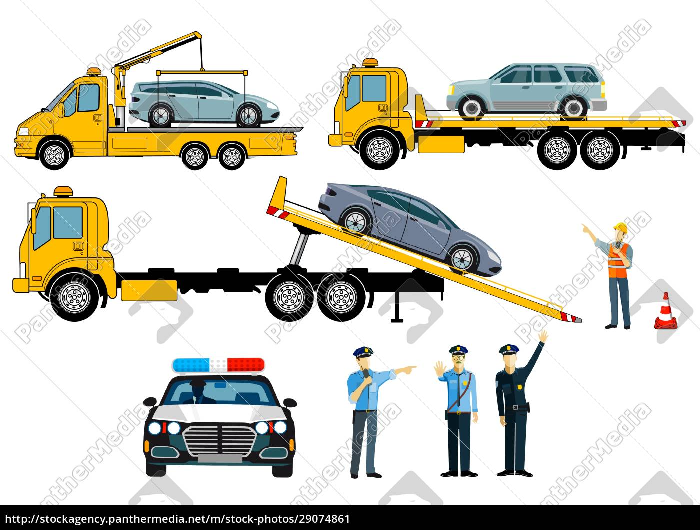 cars, on, tow, truck, with, police, - 29074861