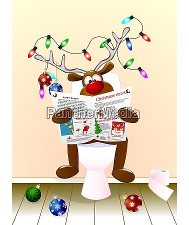ein reh liest zu weihnachten eine