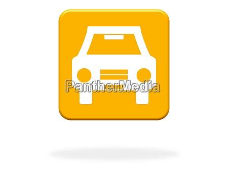 orange button mit auto symbol