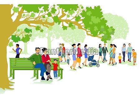 gruener stadtpark mit familien und menschen