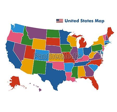 coiorful vereinigte staaten karte mit staatsgrenzen