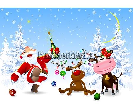 weihnachtsmann hirsch und kuh feiern weihnachten
