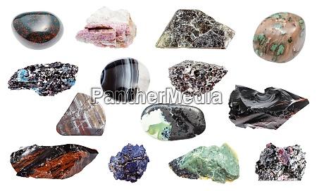 sammlung verschiedener proben natuerlicher mineralien