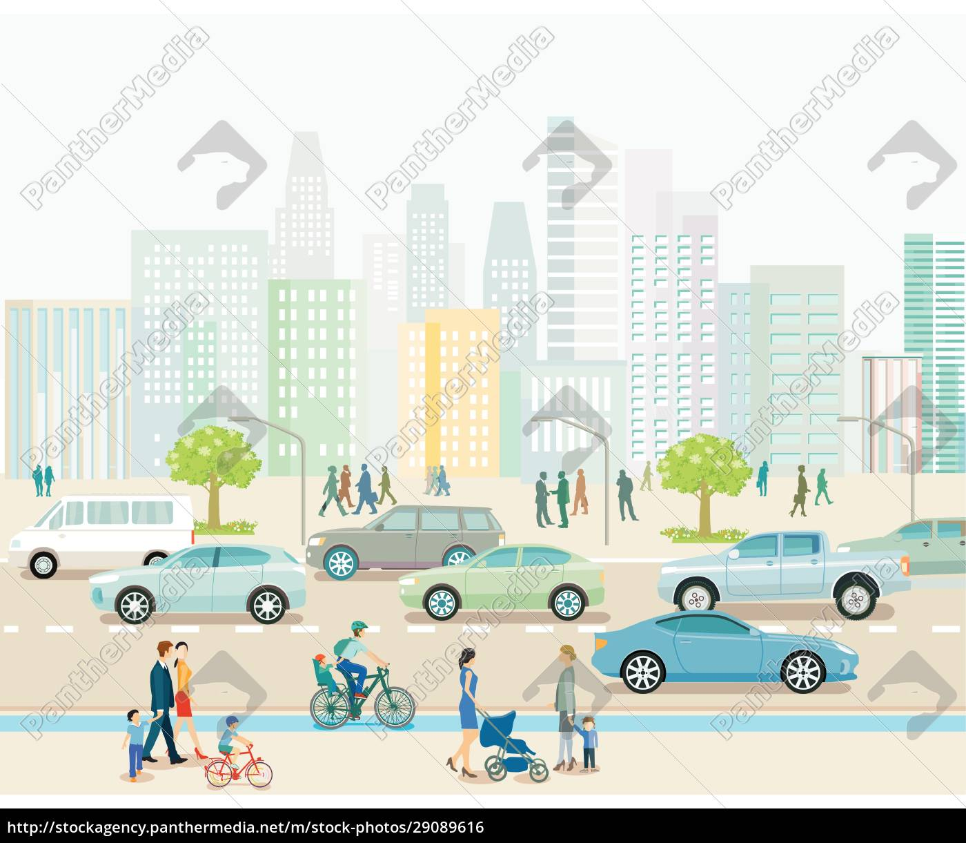 city, with, road, traffic, , apartment, buildings - 29089616