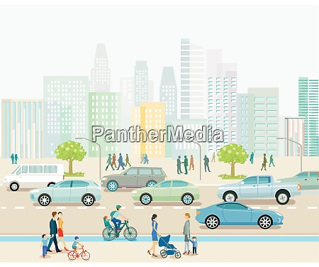 stadt, mit, straßenverkehr, mehrfamilienhäusern, und, fußgängern, auf - 29089616
