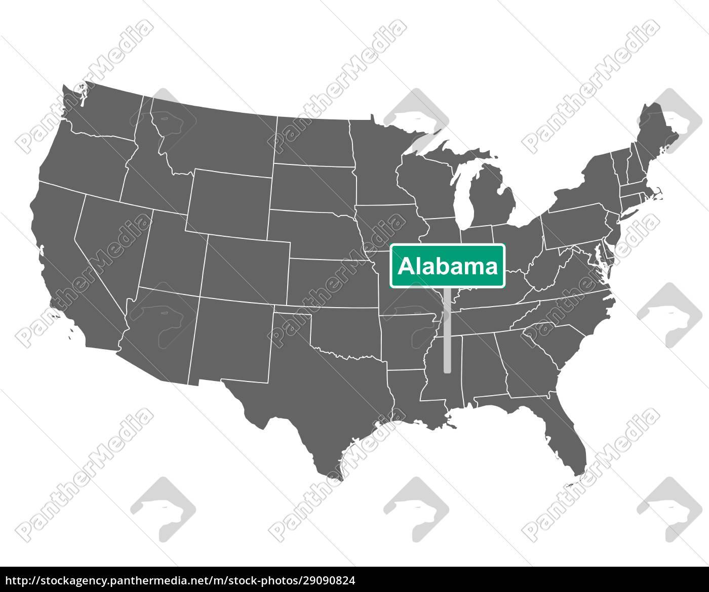 alabama, state, limit, zeichen, und, karte - 29090824