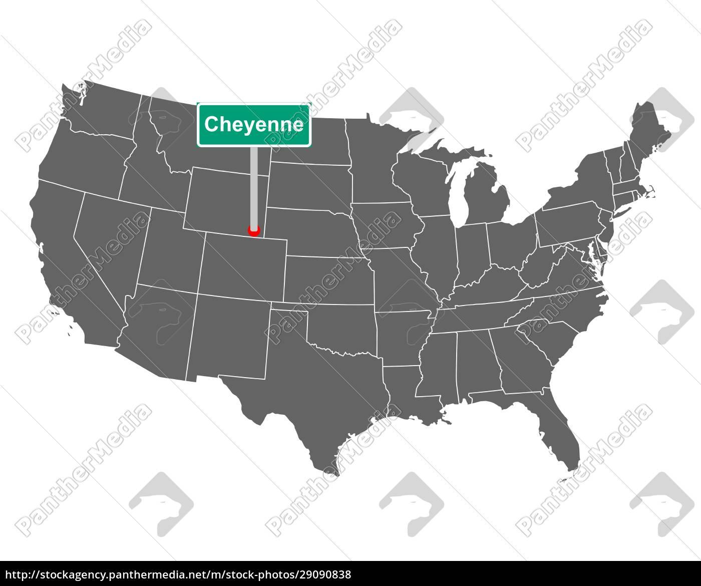 cheyenne, stadtgrenze, zeichen, und, karte, von - 29090838