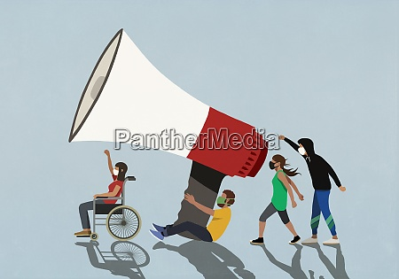 demonstranten in gesichtsmasken mit grossem megaphon