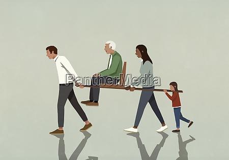 familie mit grossvater auf wurfsitz