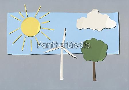 umwelt und windkraftanlagen schneiden symbole aus