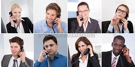 diverse geschaeftsleute die telefonportrait anrufen