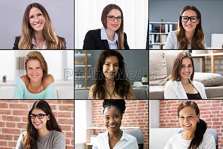 frauen video konferenz anruf gesichter foto