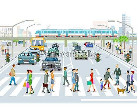 transport mit hochzug bus und strassenverkehr