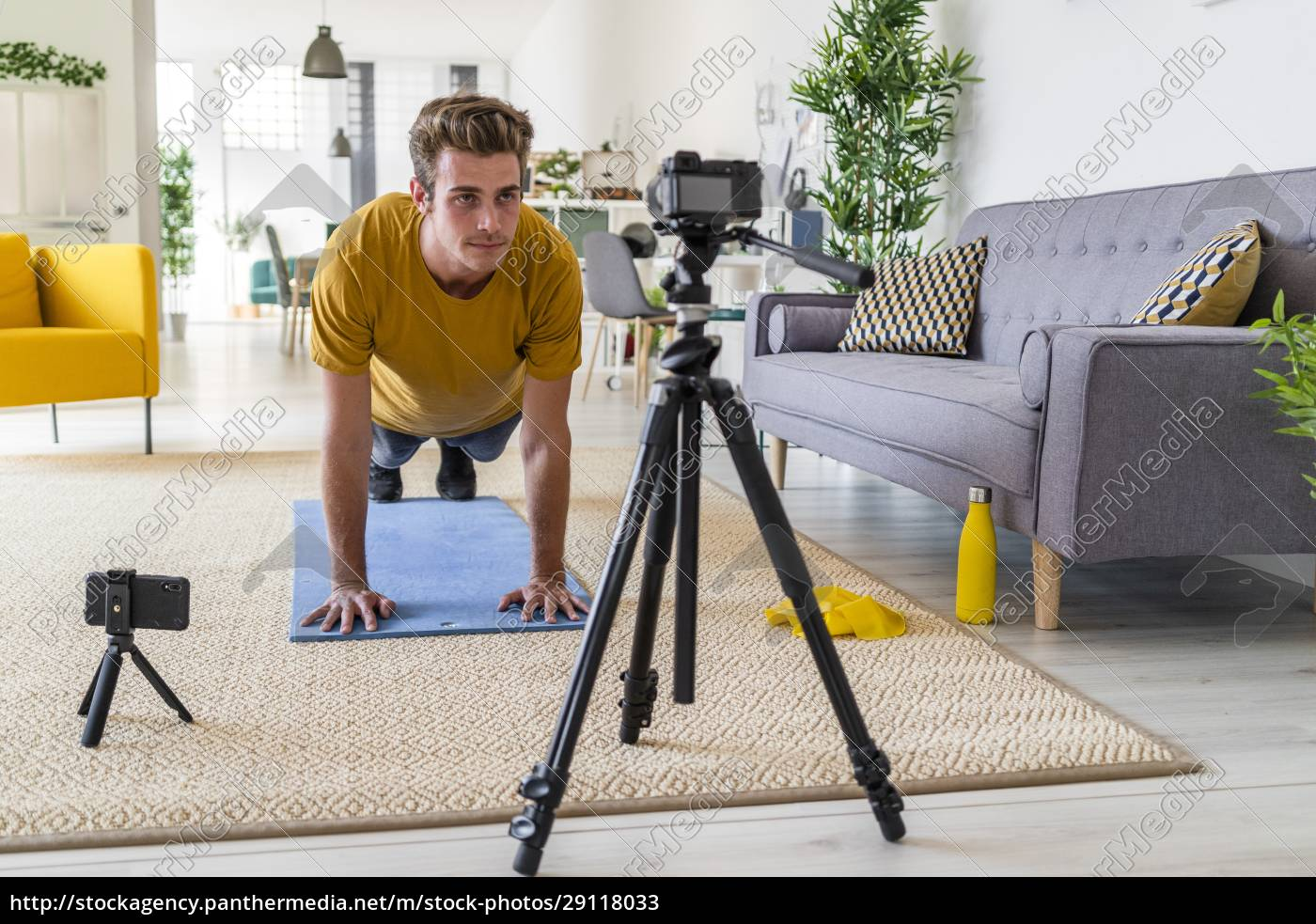 personal, trainer, live-stream, fitness-Übung, zu, hause - 29118033