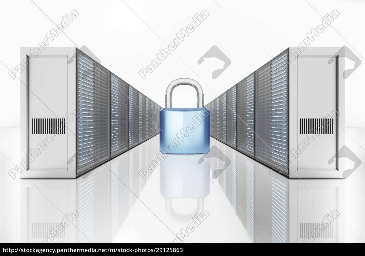 abbildung, des, vorhängeschlosses, zwischen, netzwerkserverturm - 29125863