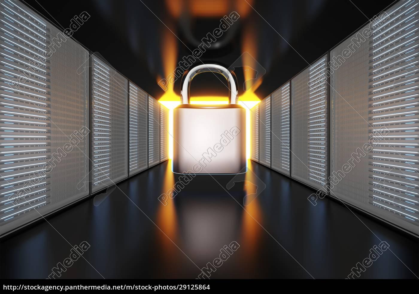 sicherheitsvorhängeschloss, zwischen, servertower - 29125864
