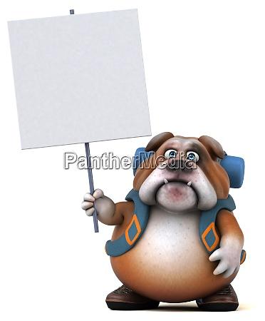 spass backpacker bulldogge cartoon charakter