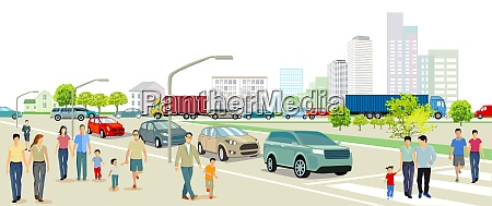 stadt mit strassenverkehr mehrfamilienhaeusern und fussgaengern