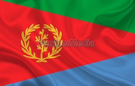 eritrea land flagge auf welligen seide