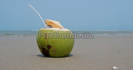 kokosfrischer, saft, am, strand - 29194933