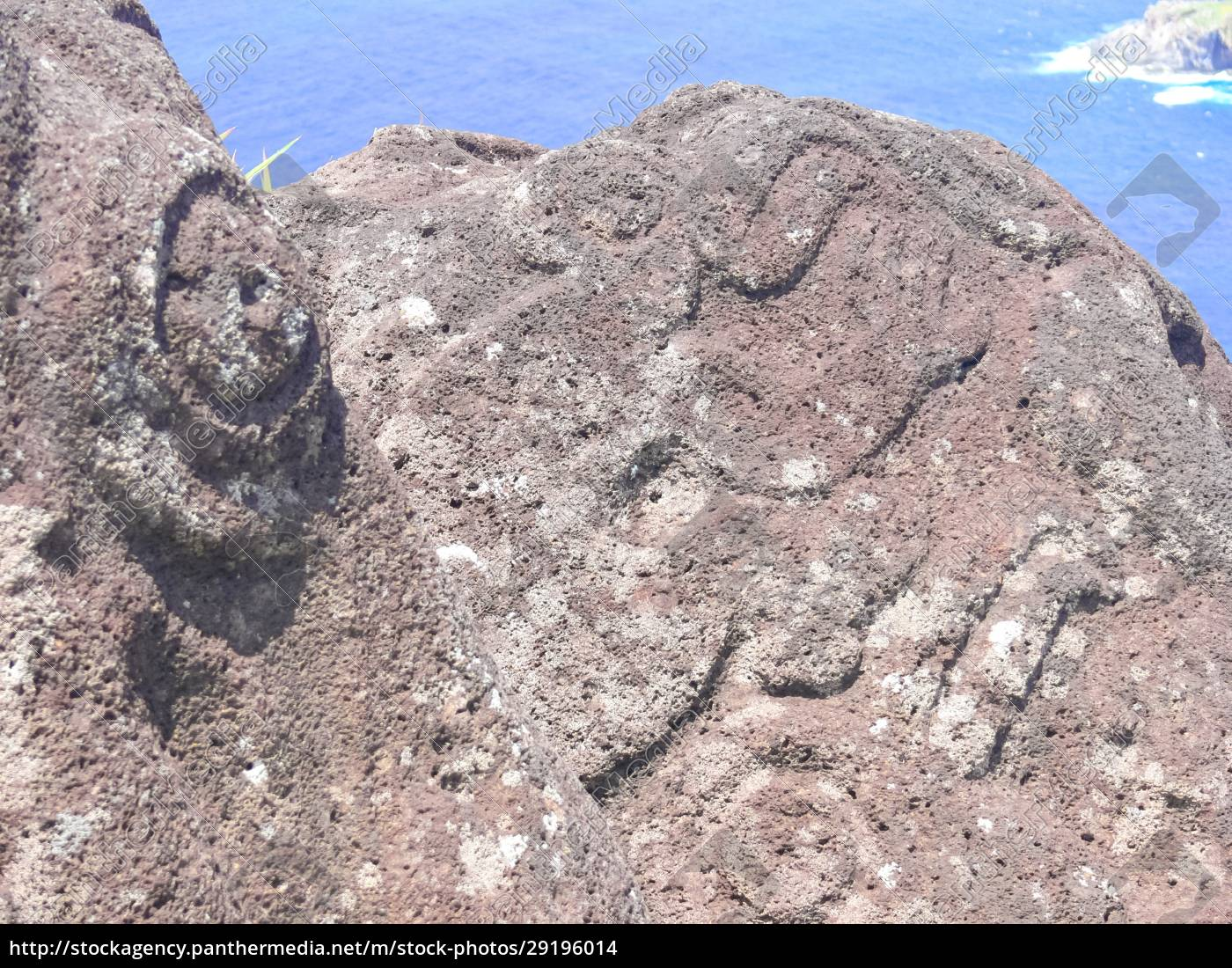 rocks, with, rock, engraving., easter, island, - 29196014