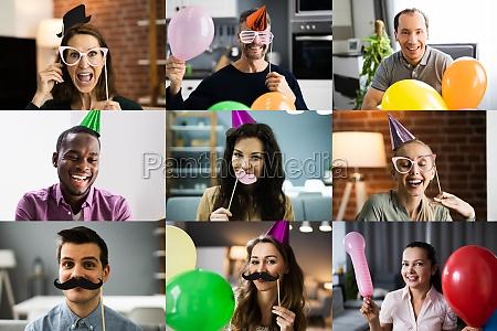 gruppe von menschen party in virtual