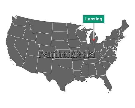 lansing stadtgrenze zeichen und karte von