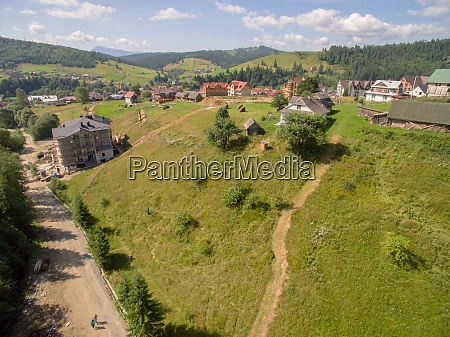 village, near, deep, green, mountaines., aerial - 29204814
