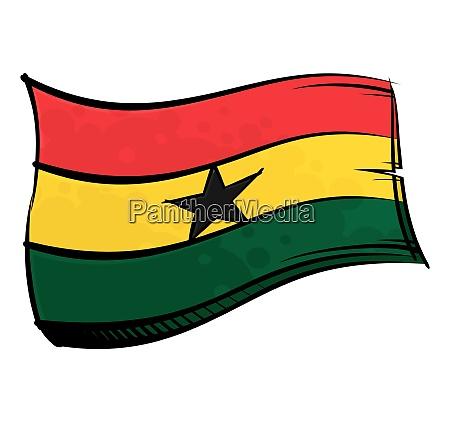 bemalte ghana flagge weht im wind