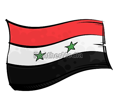 bemalte syrien flagge weht im wind