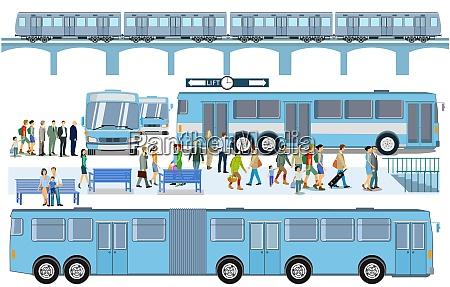 bushaltestelle mit hochzug illustration