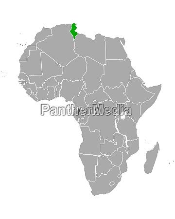 karte von tunesien in afrika