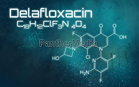 chemische formel von delafloxacin auf einem