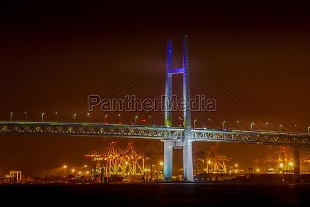 yokohama bay bridge of night view