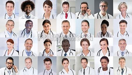 multiethnische arzt gesichter foto collage