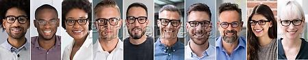 diverse business people avatar portrait collage