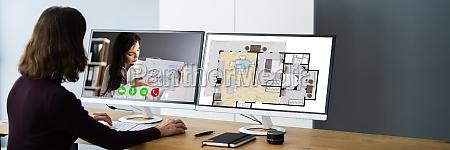 innenarchitekt oder dekorateur online video konferenzanruf