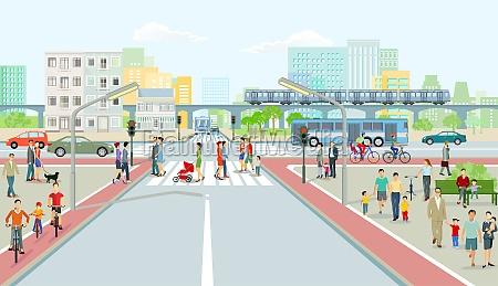 stadtbild mit strassenverkehr hochzug und menschenillustration