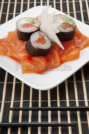 high, angle, view, of, sushi, rolls - 29364885