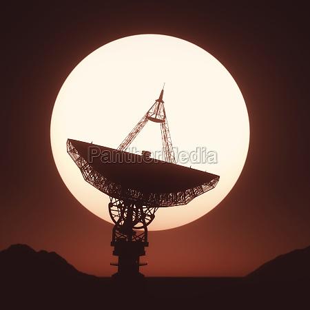 riesige satellitenschale silhouette mit blick auf