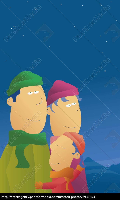 boy, hugging, his, parents - 29368531
