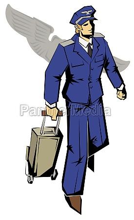 pilot zieht einen koffer