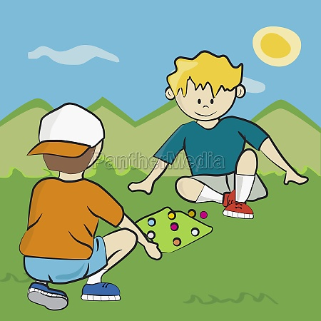 two boys playing in the park