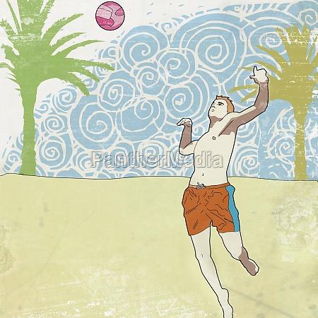 mann spielt beachvolleyball