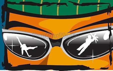 menschen brechen in sonnenbrille