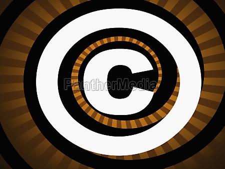 copyright symbol vor gestreiftem hintergrund