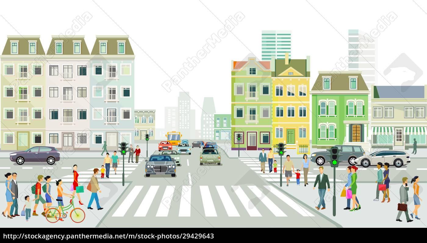 straßenverkehr, mit, menschen, auf, dem, bürgersteig - 29429643