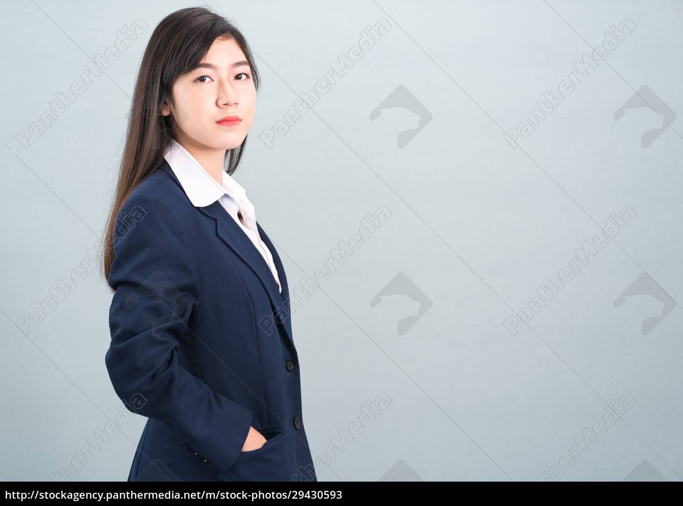 porträt, der, asiatischen, geschäftsfrau, isoliert, auf - 29430593