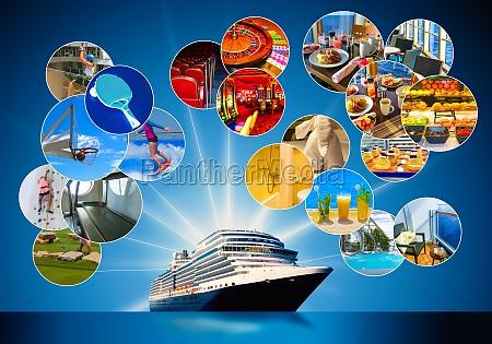 collage ueber abstraktes kreuzfahrtschiff
